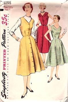 50s Vintage Full Skirt Dress Pattern 33 bust Simplicity 1098 size 14 1/2