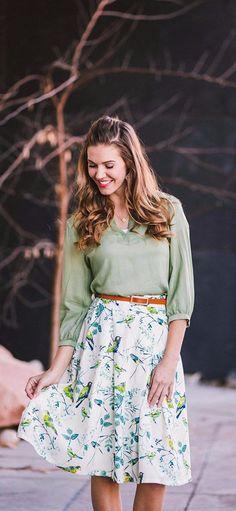 modest skirt, bird print skirt, knee length,