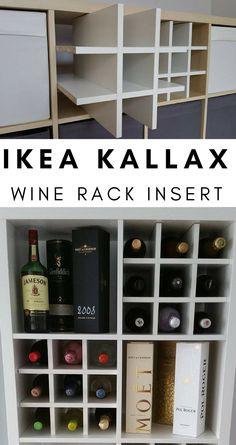 Wine Rack Insert For Ikea Kallax / Expedit Storage Unit Bottle Holder Hack White Home Bar Rooms, Liquor Shop, Drying Room, Room Corner, Wine Rack Wall, Ikea Home, Man Room, Wine Storage, Decoration