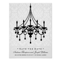 Wedding Save the Date | Chandelier Damask Announcement Cards in Light Gray and Black