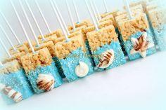 Under the Sea Birthday Baby Shower Bridal Shower Seashell Chocolate Dipped Rice Krispie Treats Ocean Beach Wedding Mermaid Birthday Favors