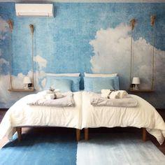 Francis B&B  Romantic Bedroom in Trieste, Italy  #bedandbreakfast #bedroom #sky #wallpaper #altalena #homedecor #blue