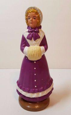 "VTG Xmas Ceramic Atlantic Mold Holiday Caroler Figurine 9"" Woman Muff Display"