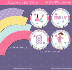 Spa Party Slumber Party Cupcake Circles and Wrappers - Sleepover Makeover Spa Day Thank You Cards - Slumber Party - Spa Birthday Party by SavoirFaireMedia