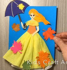 Fall paper craft for kids fall doll Fall paper crafts for kids doll princess Fall Paper Crafts, Newspaper Crafts, Paper Crafts Origami, Origami Easy, Craft Stick Crafts, Fun Crafts, Cheap Fall Crafts For Kids, Easy Fall Crafts, Easy Easter Crafts