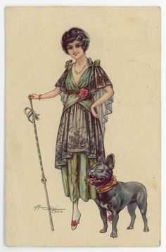 1915 Glamour Lady with FRENCH BULLDOG a/s Cherubini orig. Antq. Dog PC