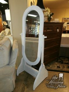 Adorable, white wicker writing desk with a bit of a curved. Top has ...