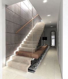 Home Stairs Design, Interior Stairs, Interior Architecture, Entry Stairs, House Stairs, Commercial Stairs, Staircase Lighting Ideas, Space Under Stairs, Concrete Stairs