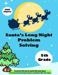 This 45 page resource will keep your students engaged during the holidays as they solve word problems about Santa that becomes a fun story. There are 12 self-checking task cards along with games, activities, worksheets, posters, and more. All printables come in a choice of color or black and white.  Common Core aligned and also available in Grades 2-4. $