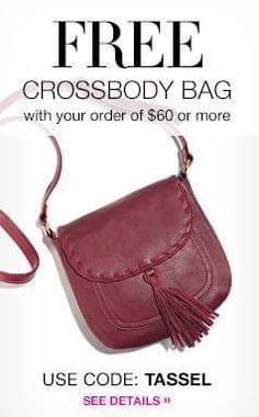 Free Cross Body Bag with your $60 order - expires at midnite 9/27/16  Use code:  TASSEL