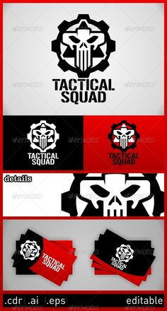 Tactical Squad Skull Logo Design Template Vector #logotype Download it here: http://graphicriver.net/item/tactical-squad-skull-logo-template/6273186?s_rank=461?ref=nexion