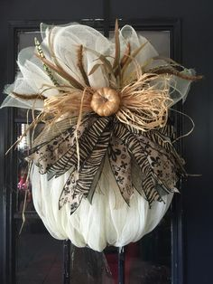 Fall Pumpkin Wreath Harvest Pumpkin WreathAutumn Pumpkin Wreath Animal Print Pumpkin pumpkin wreath Beautiful full Ivory Pumpkin Wreath Supplies may slightly change with availability. Thanksgiving Wreaths, Fall Wreaths, Deco Mesh Wreaths, Fall Deco Mesh, Floral Wreaths, Adornos Halloween, Manualidades Halloween, Burlap Pumpkins, Fall Pumpkins