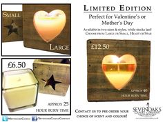 Is your mum a star? Get her a limited edition star candle from us, made to order with your choice of scent and colour! Just one large and four small left in stock! Star Candle, Candle Jars, Candles, Candle Companies, Colour, Stars, Color, Candy, Sterne