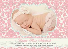 Birth Photo Announcement/ Baby by SweetBeeDesignShoppe on Etsy, $15.00