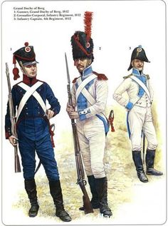 Grand Duchy of Berg 1-Gunner Grand Duchy of Berg 1812 2-Grenadier Corporal Infantry Regiment 1812 3-Infantry Captain 4th Regiment 1812