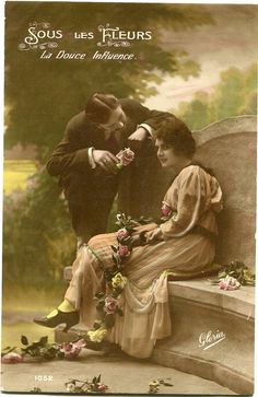 French couple on stone garden bench  Vintage by BelleEpoqueCards, $3.75