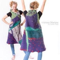 Outstanding Nuno Felt Dress longue Merino Wool por ArianeMariane