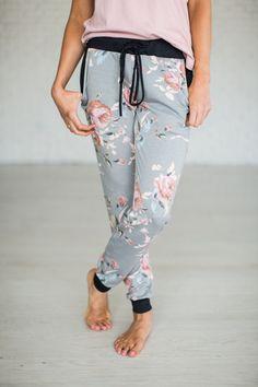 Hayden Floral Joggers - Grey