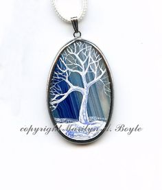 SOLD - HAND PAINTED AGATE jewelry pendant tree winter by OriginalSandMore