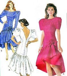 537cfea8fc1 Items similar to 1980s Evening Dress Pattern Butterick 3017 Ruffled Drop  Waist V Back Formal Prom Dress High Low Hem Vintage Sewing Pattern Bust 32 1 2  ...