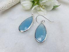 Blue Chalcedony earrings Sterling Silver earrings by Inspiredby10