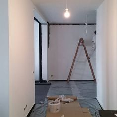 Saturday Action I: Painting a white office black! White Office, Interior Architecture, Oversized Mirror, Action, Concept, Painting, Furniture, Black, Home Decor