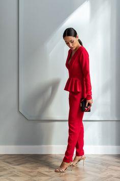 60b3b089b6 comprar online mono rojo largo con peplum para invitada eventos fiestas  bautizos comuniones bodas ocasiones especiales