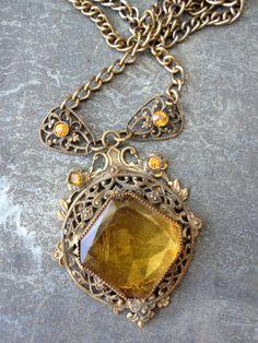 Victorian amber glass filagree pendant necklce by funkyjunkmama, $48.50