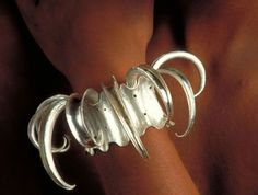 """Tentacle Cuff Bracelet  Anticlastic hammer formed and riveted fine silver, one of a kind, 4 x 5 x 3 """", acquired for private collection Grand Rapids, M"""