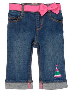Little sailor gals look cute and stay comfy in our sailboat jean. Pink grosgrain ribbon with permanent bow accents the stretchy waist, while colorful embroidered sailboat adds a nautical detail to our cuffed pant.