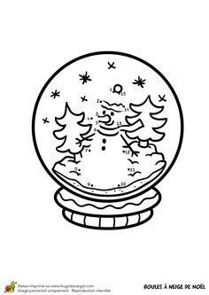 Dessin A Colorier D Une Boule A Neige De Noel La Lune