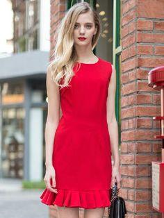 Luxurious Falbala Dress In Red   Choies