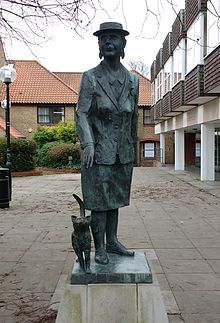 Bronze statue of Dorothy L. Sayers by John Doubleday. The statue is opposite her home at 24 Newland Street, Witham Garden Sculpture