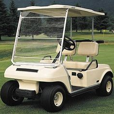 Classic Electric Cart Windshields by Classic Accessories. $32.98. Golf Cart Windshield...For A More Enjoyable Trip Around The Course! Classic Golf Cart Windshields feature: 2 models available: Standard Scratch Resistant For those days you don't want the breeze in your face Offers excellent vision and protection from the elements Fits in seconds to most popular golf cars Standard: Elastic cords secure windshield to cart Provides shield against wind and rain Clear plastic folds up...