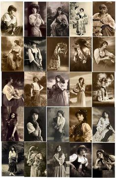 Vintage Black & White, Sepia Gypsy Costumes Image Download Contents