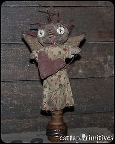 everybody's an angel ~ raggedy annie mini ~ on old bobbin ~ catnap*primitives
