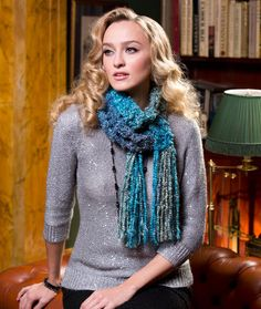Very nice scarf for just using easy garter stitch knitting pattern! | Red Heart