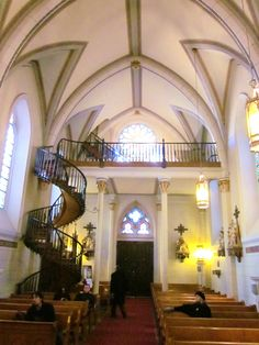 """Loretto Chapel, Santa Fe, New Mexico    Check out the """"miraculous stair case!"""""""