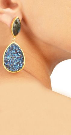 22kt gold plated earrings with blue druzy and labradorite available only at Pernia's Pop-Up Shop.
