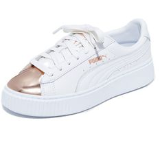PUMA Basket Platform Metallic Sneakers ($100) ❤ liked on Polyvore featuring shoes, sneakers, bright sneakers, puma shoes, metallic sneakers, puma trainers and lace up shoes