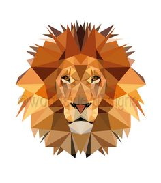 PRINTABLE Low Poly Lion Digital Download Print  ✚ NO PHYSICAL PRINT WILL BE SHIPPED - only DIGITAL FILES - NO PRINTED MATERIALS OR FRAME ARE