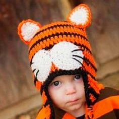 Crochet Tiger Hat @ hjcrochet.blogspot.com