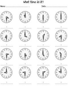 telling time half hour worksheets printable treats for the home pinterest the o 39 jays. Black Bedroom Furniture Sets. Home Design Ideas