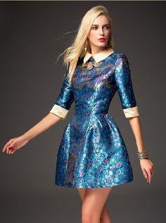 Blue Half Sleeve Embroidered Flare Dress - abaday.com