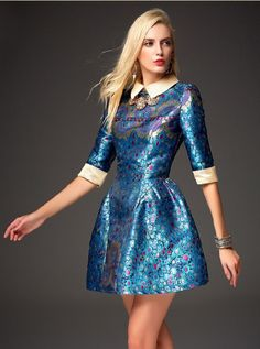 Blue Half Sleeve Embroidered Flare Dress - abaday.com