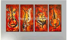 Cheap oil painting, Buy Quality paintings on canvas directly from China oil painting on canvas Suppliers: Hand Painted Abstract Art Musical Instruments Still Life Oil Painting On Canvas 4 Panel Modern Wall Picture Home Decor Sets