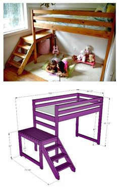 Toddler Bunk Beds, Loft Bunk Beds, Kid Beds, Low Loft Beds For Kids, Kids Beds Diy, Loft Bed Plans, Diy Bed Frame, Bed Frames, Bunk Bed Designs