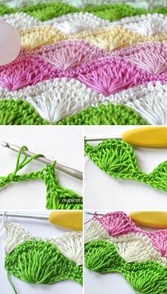 Long Fan Stitch Crochet Free Pattern Tutorial
