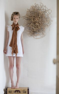 Cotton tea dress & ochre  long merino wool scarf