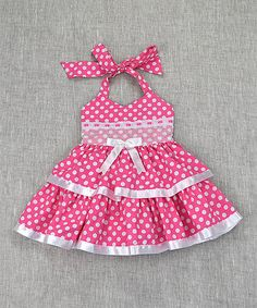 Pink Dot Ruffle Halter Dress - Toddler & Girls